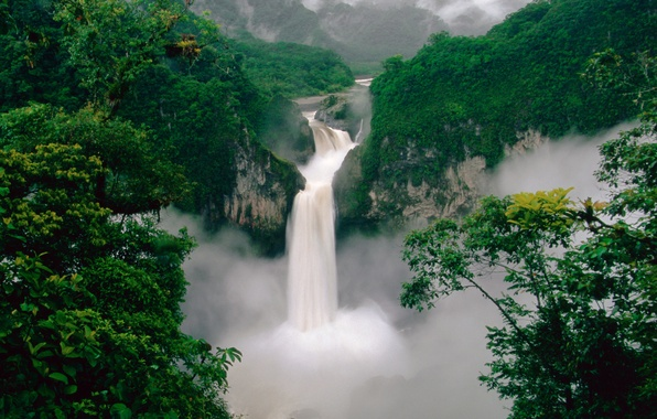 Picture forest, mountains, river, waterfall, Ecuador