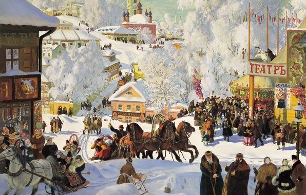 Picture mood, holiday, picture, three, people, Kustodiev, carnival