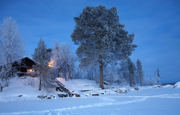 Picture winter, snow, house, Finland, Lapland