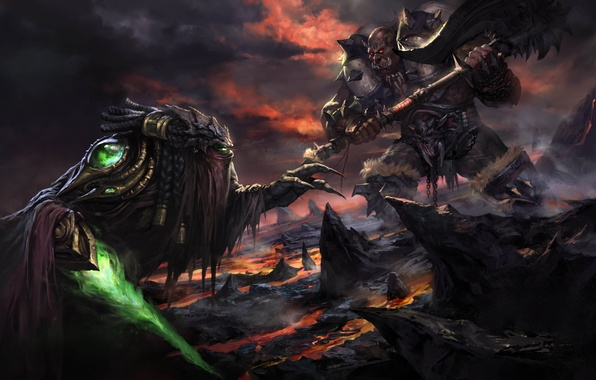 Picture weapons, rocks, sword, art, monsters, lava, battle, Blizzard, Orc, StarCraft, Zeratul, Zeratul