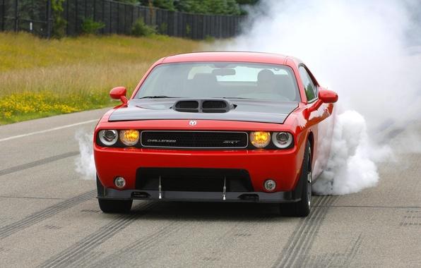 Picture Red, Smoke, Machine, Dodge, Asphalt, Dodge, SRT8, Challenger, Lights, The front