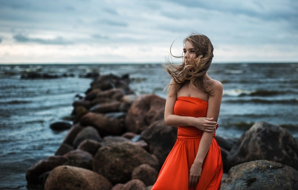 Picture Light, Orange, Red, Sky, Model, Water, White, Female, Ocean, Sea, Alena, Pretty, Hair, Dress, Stones, …