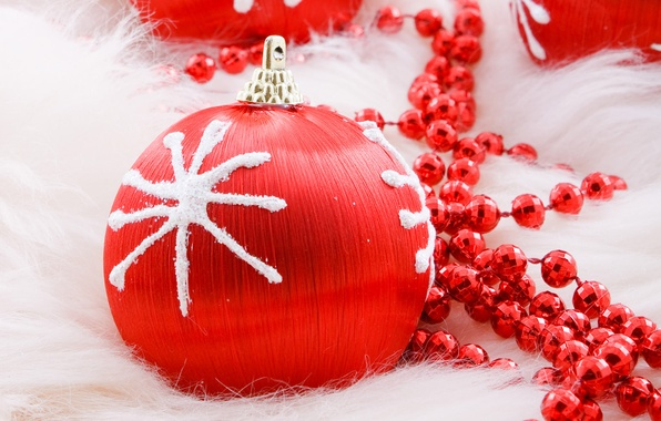 Picture red, holiday, new year, ball, Christmas, ball, beads, christmas, new year, snowflake, Christmas decorations