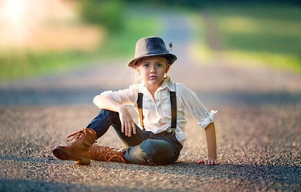 Picture road, pen, jeans, hat, girl, shirt, child, Tomboy, Tomboy