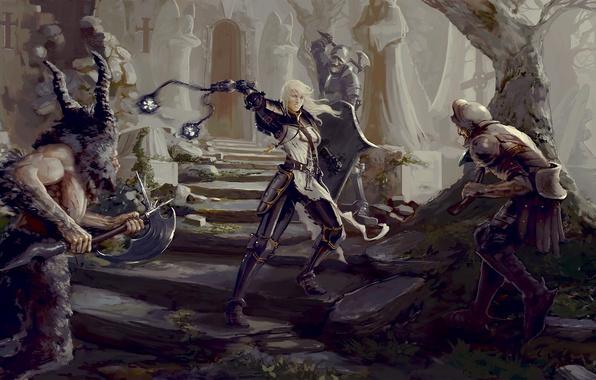 Picture girl, Diablo 3, battle, crusader, Diablo 3: Reaper of Souls