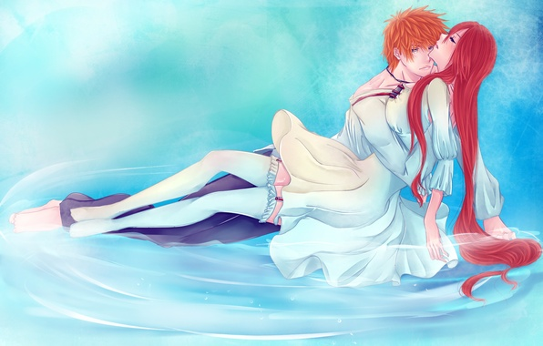 Picture water, girl, stockings, anime, art, pair, guy, bleach, Kurosaki Ichigo, inoue orihime, iwonn