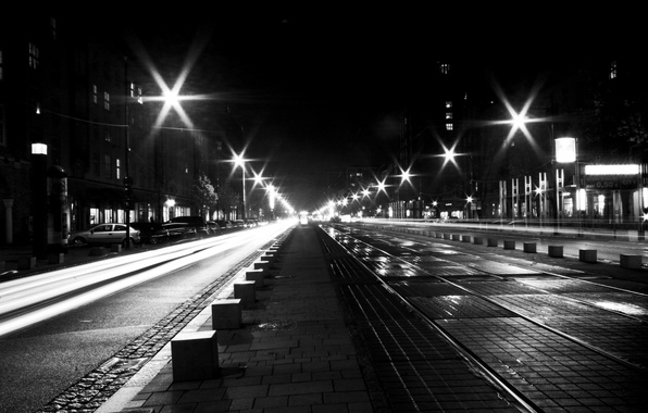 Picture road, machine, lights, street, Windows, home, lights, black and white, the sidewalk