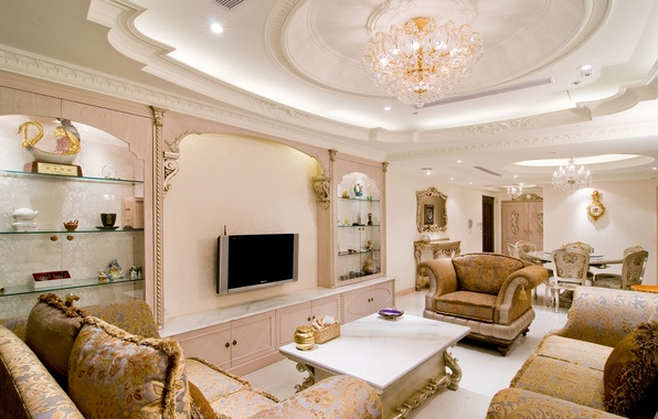 Picture style, table, furniture, chairs, chair, mirror, TV, table, sofas, living room, interior, classics, chandeliers.