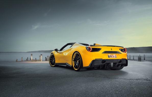 Picture car, auto, tuning, Ferrari, supercar, Ferrari, sky, back, Spider, Rosso, Novitec, 488, novitek