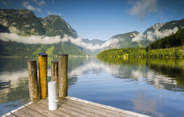 Picture water, clouds, mountains, lake, Marina, Austria, Alps, Austria, Alps, Lake Hallstatt, Lake Hallstatt, Winkl