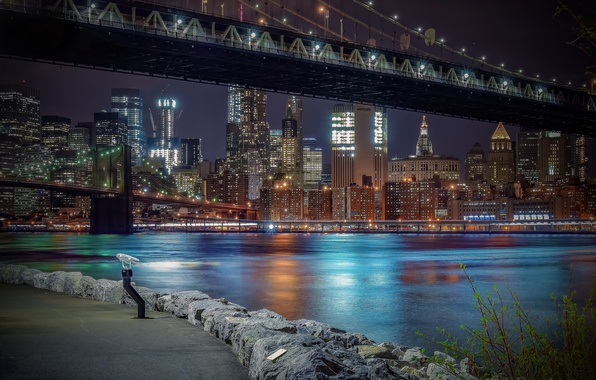Photo wallpaper Strait, building, New York, Brooklyn bridge, bridges, night city, Manhattan, promenade, skyscrapers, Manhattan, New York ...