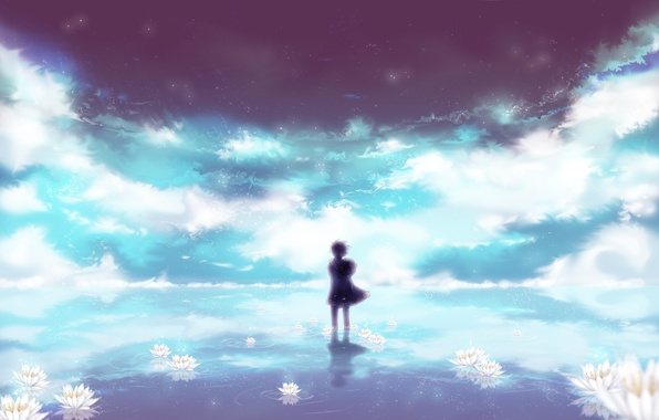 Picture the sky, water, stars, clouds, flowers, reflection, the wind, Lily, shadow, anime, art, guy, uyre, …