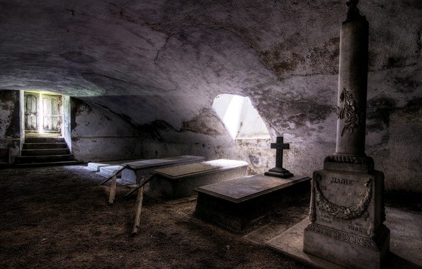 Picture background, the crypt, coffins