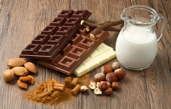 Picture chocolate, milk, nuts, almonds, sweet, hazelnuts