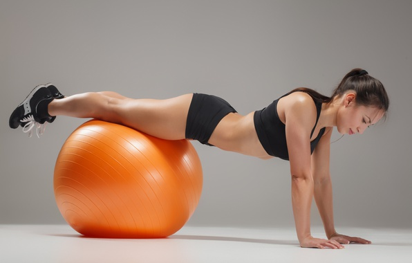 Picture brunette, ball, workout, fitness