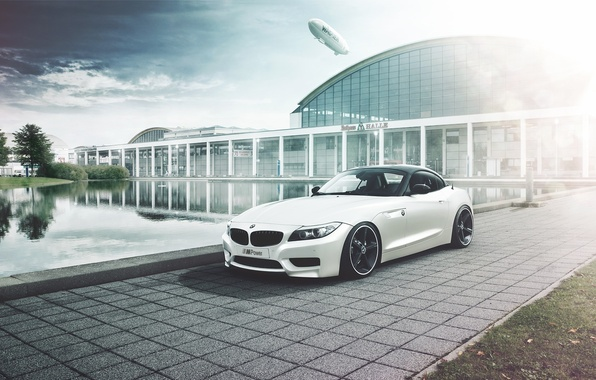 Picture lake, the building, BMW, white, dirijabli