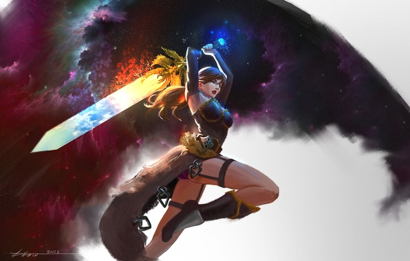 Picture look, girl, weapons, background, hair, sword, boots, art, attack