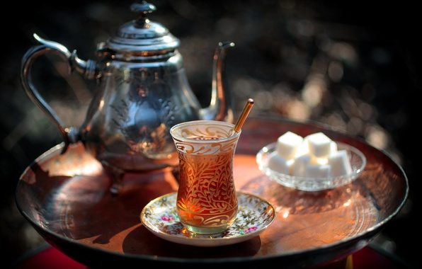 Photo wallpaper tea, kettle, sugar