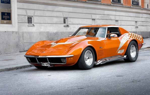 Picture auto, orange, corvette, chevrolet, muscle car
