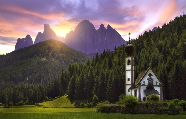 Picture forest, sunset, mountains, meadow, Italy, Church, Italy, The Dolomites, South Tyrol, South Tyrol, Dolomites, Funes, …