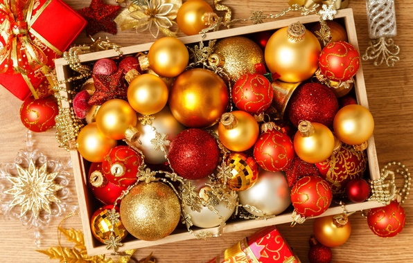 Picture balls, decoration, box, balls, toys, New Year, Christmas, red, Christmas, gold, holidays, New Year, Christmas, …