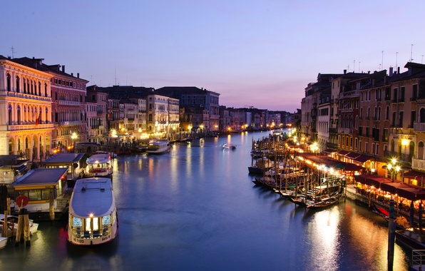 Picture sea, the city, lights, building, home, boats, the evening, lighting, lights, Italy, Venice, twilight, Italy, …