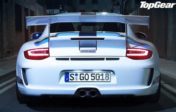 Picture white, 911, 997, lights, supercar, spoiler, porsche, Porsche, gt3, rear view, top gear, top gear, …