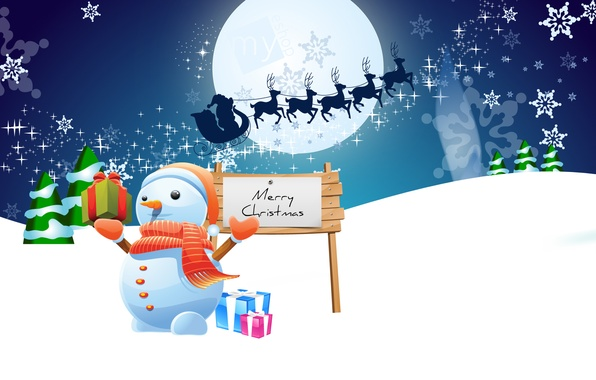 Photo wallpaper snowman, sleigh, tree, graphics, holiday, gifts, winter, snowflakes, night, deer, snow, Christmas, new year, the ...
