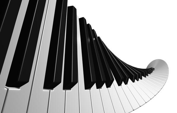Picture white, black, keys, piano music