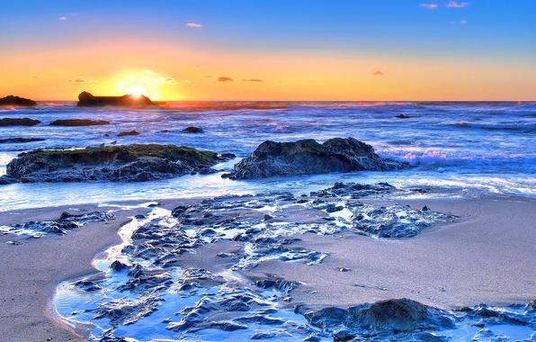 Picture sea, sunset, nature, photo, dawn, coast