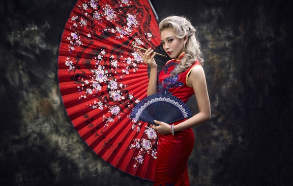 Picture girl, style, background, dress, fan, Asian, red dress, Smoking pipe, kiseru