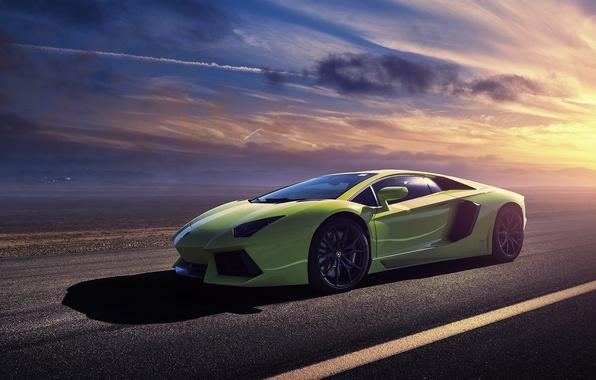 Picture green, Lamborghini, Lamborghini, green, sun, LP700-4, Aventador, aventador, LB834