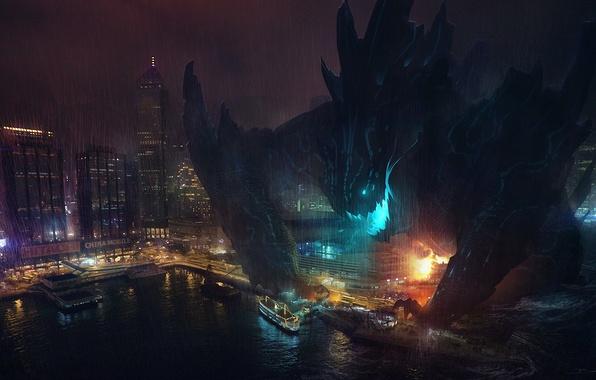 Picture night, the city, monster, ships, art, port, destruction, Pacific Rim, Pacific rim, Gull