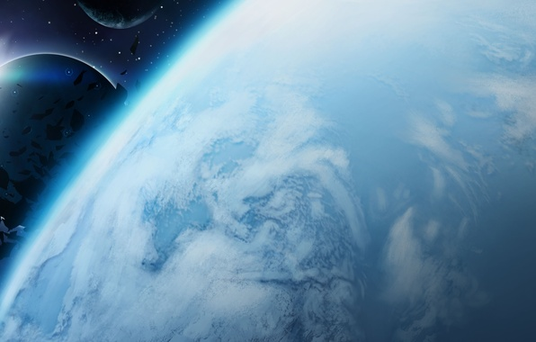 Picture space, planet, asteroids, art, satellites