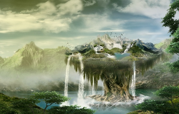Wallpaper trees, mountains, nature, waterfall