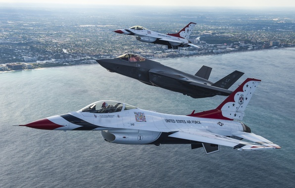 Picture sea, flight, the city, fighters, F-16, Thunderbird, F-35A