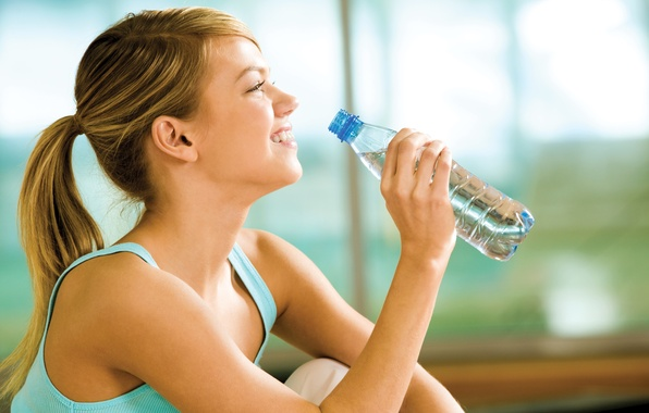 Picture woman, smile, water, water bottle, vital liquid