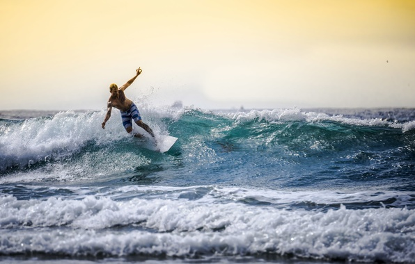 Picture sea, wave, the sky, horizon, surfer, surfing, surfboards