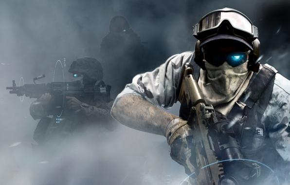 Picture future, war, smoke, glasses, machine, soldiers, machine gun, tom clancy's, future soldier, ghost recon, squad