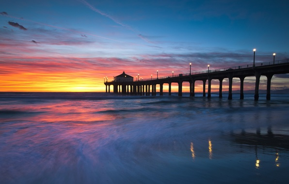 Picture landscape, sunset, bridge, United States, California, Manhattan Beach, Sand Section