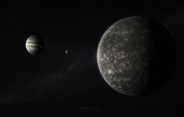 Picture Jupiter, solar system, the milky way, satellites, gas giant, Callisto