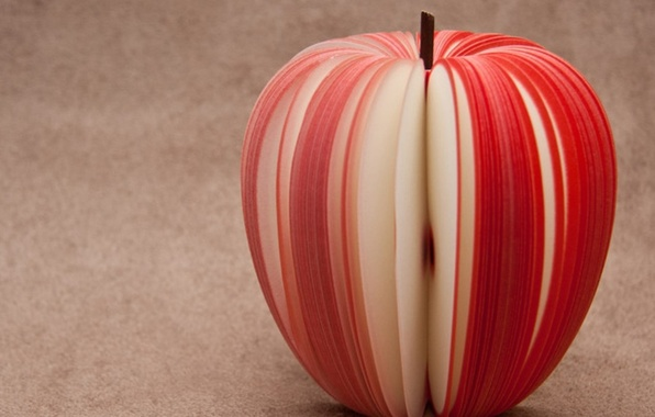 Picture red, Apple, slices, sliced, thin stripes