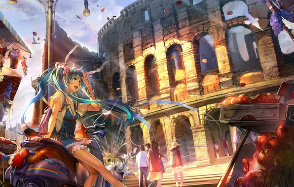 Picture girl, flowers, birds, the city, people, apples, petals, art, grapes, fruit, vocaloid, hatsune miku, Colosseum, …