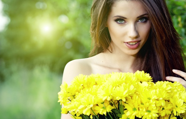Picture look, girl, flowers, face, hair, bouquet, brown hair, beautiful, femininity
