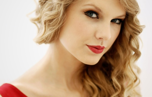 Picture face, hair, portrait, lipstick, blonde, beautiful, lips, white background, Taylor Swift