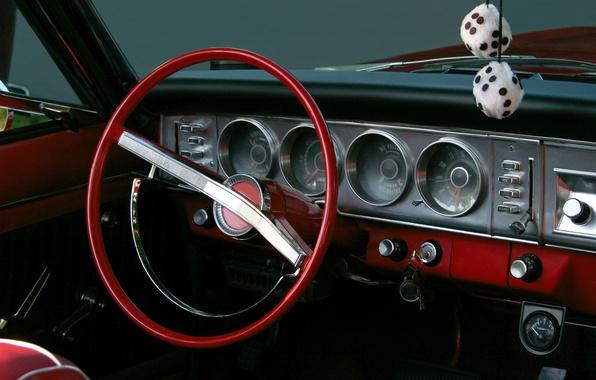 Picture macro, red, retro, cubes, panel, blur, devices, the wheel, car, salon, beautiful, bokeh, souvenir, management, …