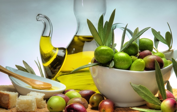 Picture table, oil, plate, bread, olives, bowl, decanter