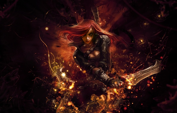Picture the game, anime, art, league of legends, katarina