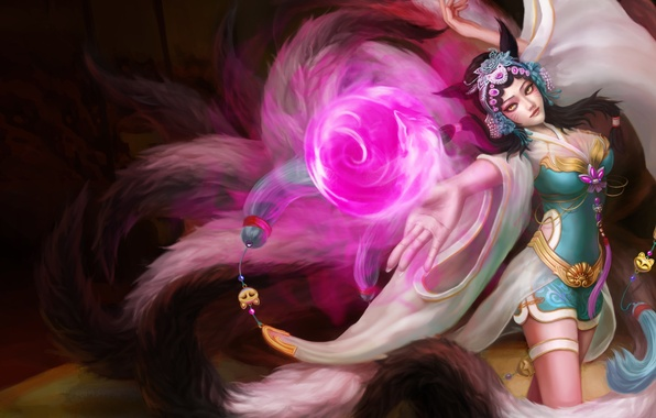 Picture look, girl, magic, gesture, ears, art, Fox, league of legends, tails, ahri, yuto