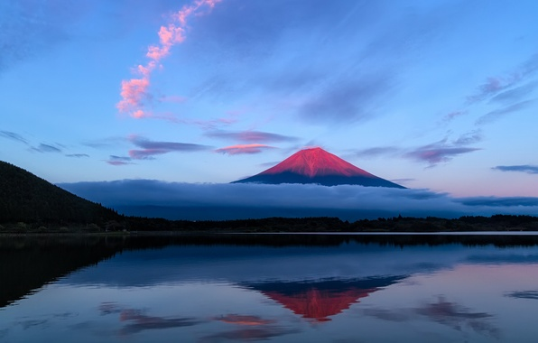 Picture the sky, clouds, lake, reflection, mountain, the evening, Japan, Fuji